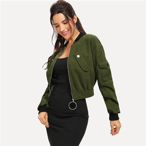 7a062278a5 SHEIN Army Green O-Ring Zip Up Flap Pocket Stand Collar Crop Button Jacket
