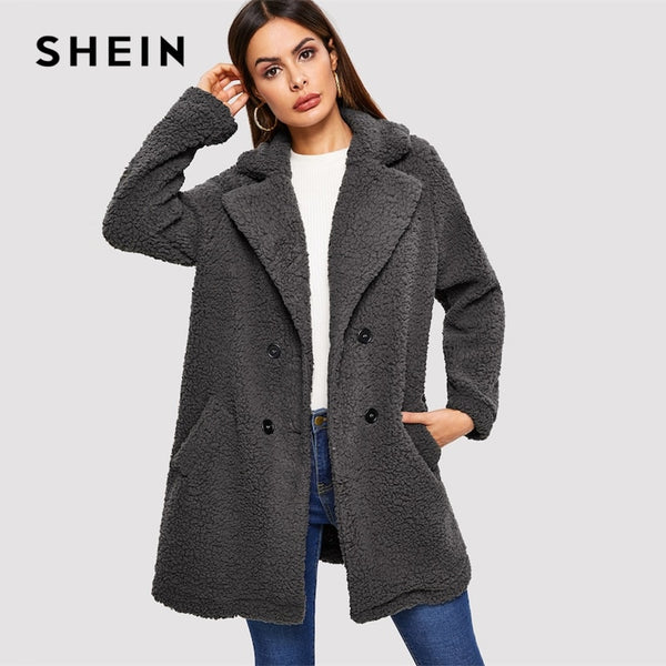 SHEIN Grey Pocket Notched Teddy Coat