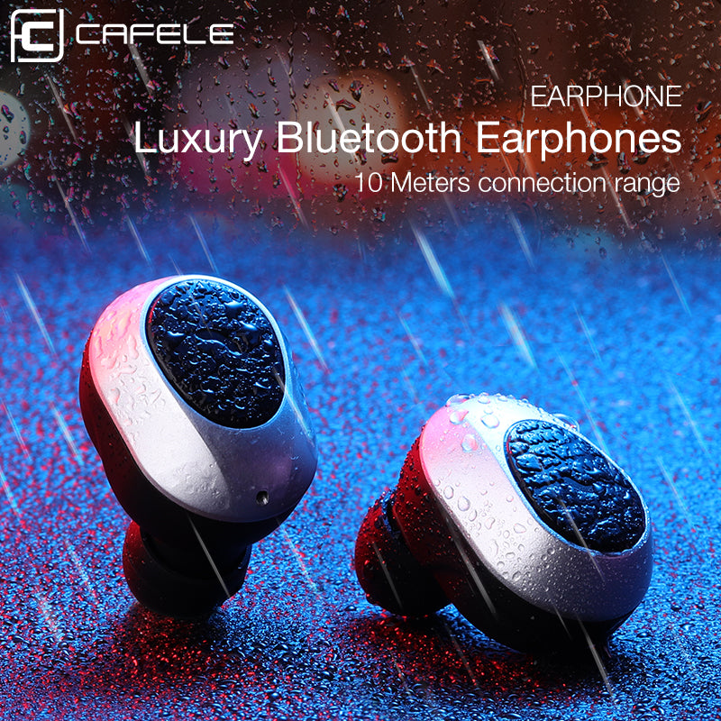 CAFELE In-Ear Bluetooth Earphone Wireless Earbud Metal Heavy Bass Business Earphone