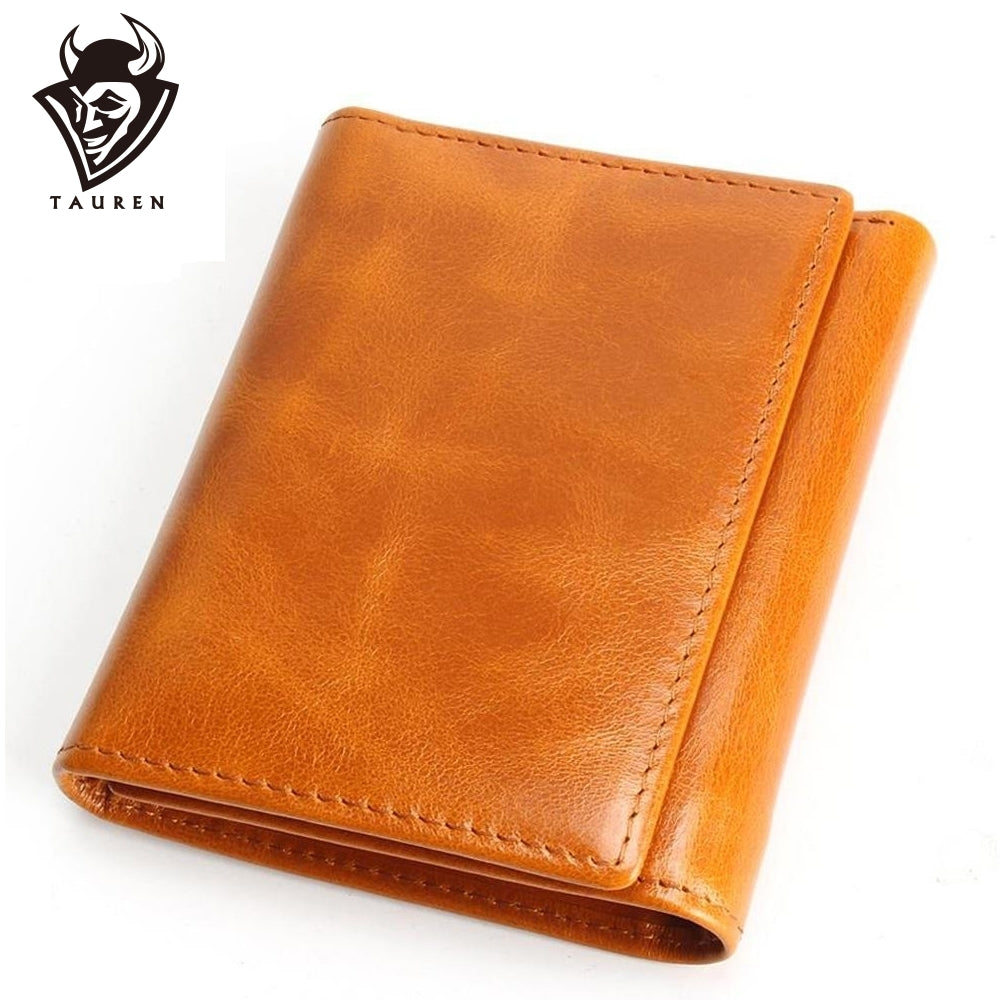100% Women Genuine Leather Wallet Oil Wax Cowhide Purse Woman V