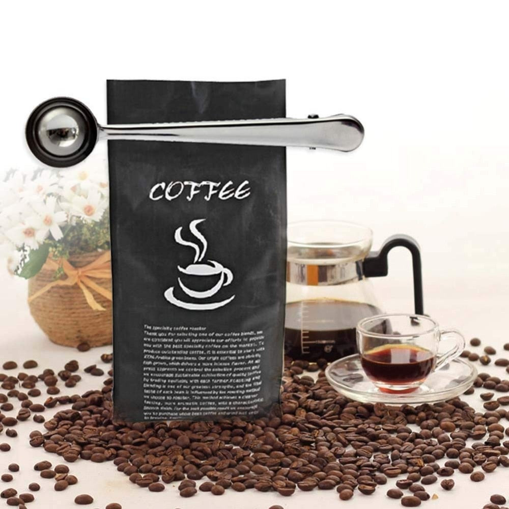 Multifunction Coffee Scoop With Clip Stainless Steel Tea Coffee Measuring