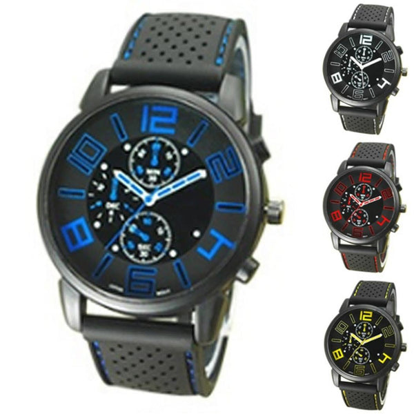 Fashion Men Luxury Stainless Steel Quartz Military Sport Silicone Band Dial Wrist Watch
