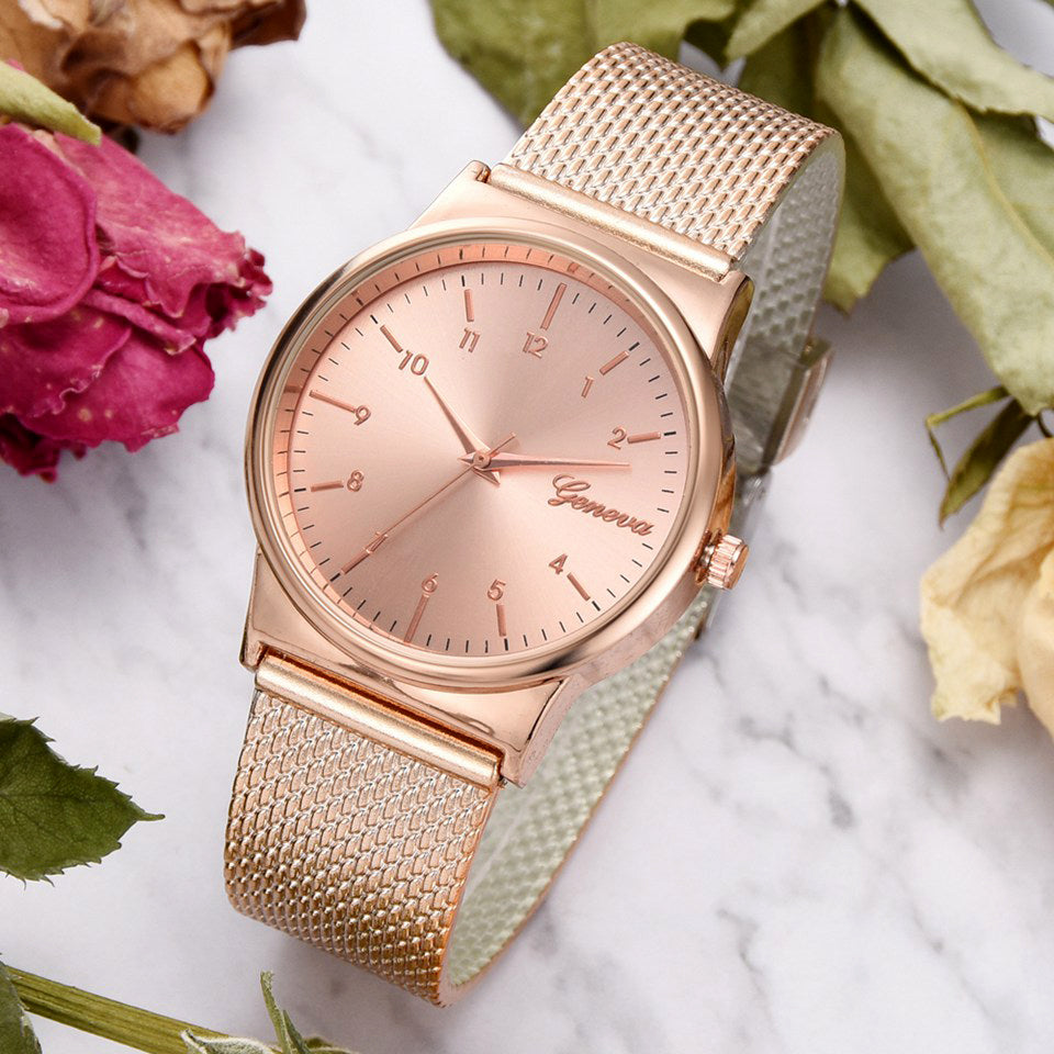 Geneva Brand Luxury Rose & Gold & Silver Bracelet Silicone Dress Quartz Watches
