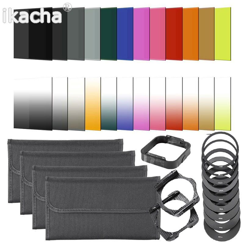 40 in 1 Set 24 Color Filter Set Square Graduate ND Filter Kit