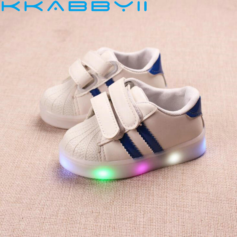 Children Shoes With Light New Brand Kids Luminous Striped Sport Shoes
