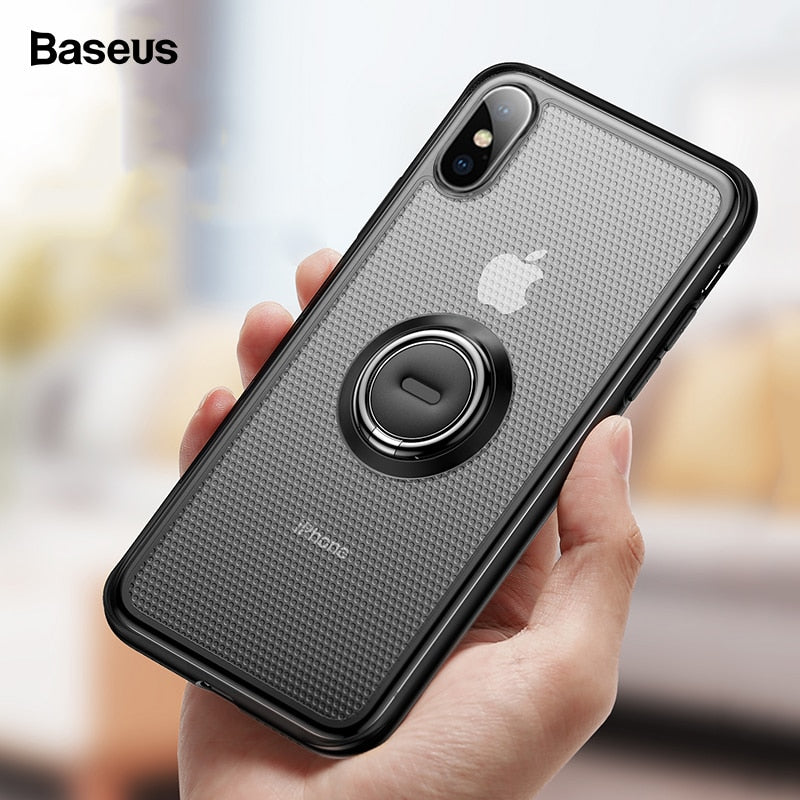 Baseus Ring Holder Case For iPhone Xs Max Xr X S R Xsmax Kickstand Coque Cover Soft TPU Finger Ring Case For iPhonexs Fundas
