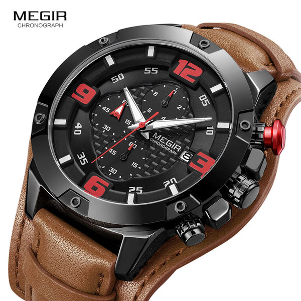 Luxury Genuine Leather Strap  Military Watch