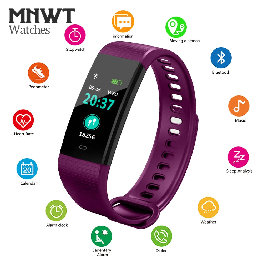 Sports Fitness Activity Pedometer Heart Rate Tracker Blood Pressure Smart Watch