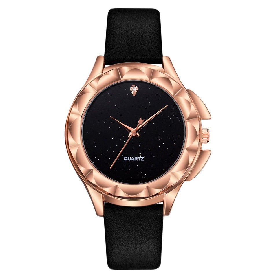 Women Starry Dial Leather Quartz Watches