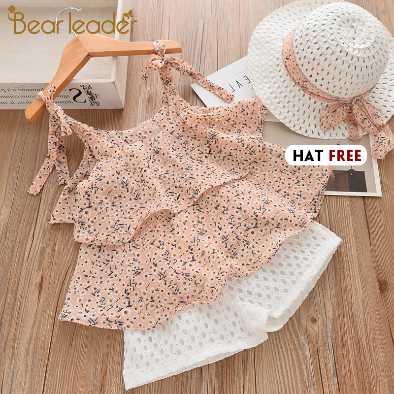 Floral Chiffon Halter+Embroidered Shorts Straw Children Clothing