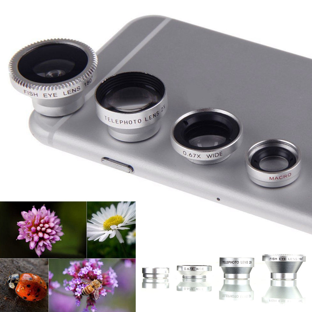 4in1 Mobile Phone Lens Wide Angle Macro Fisheye Lens Camera Kits