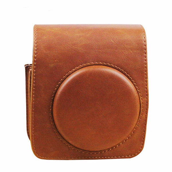 Brown Luxury PU Leather Shoulder Strap Camera Case Bag