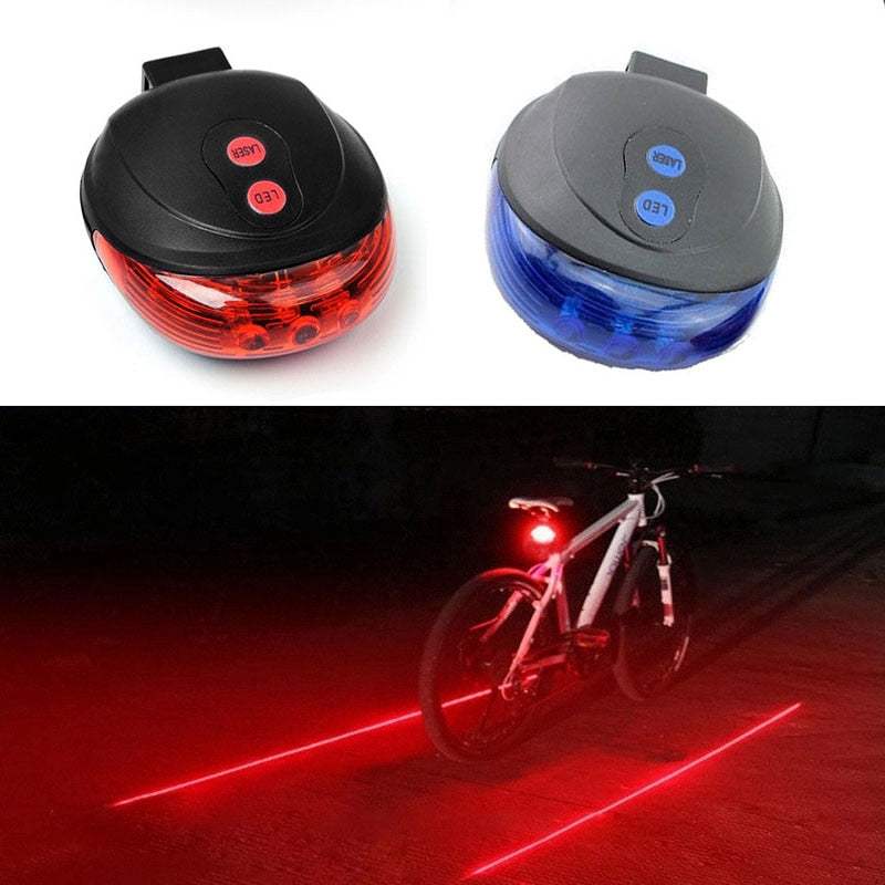 5 LED Bicycle Light 2 Lasers Bike Rear Light Cycling
