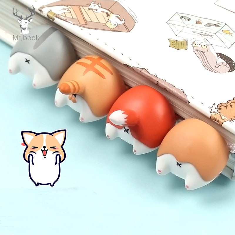 Lovely Cartoon Dog Cat Hamster Fox Ass Bookmarks Novelty Book Reading Item Creative Gift
