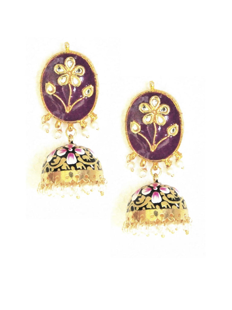 Purple Handpainted Jhumka Earrings
