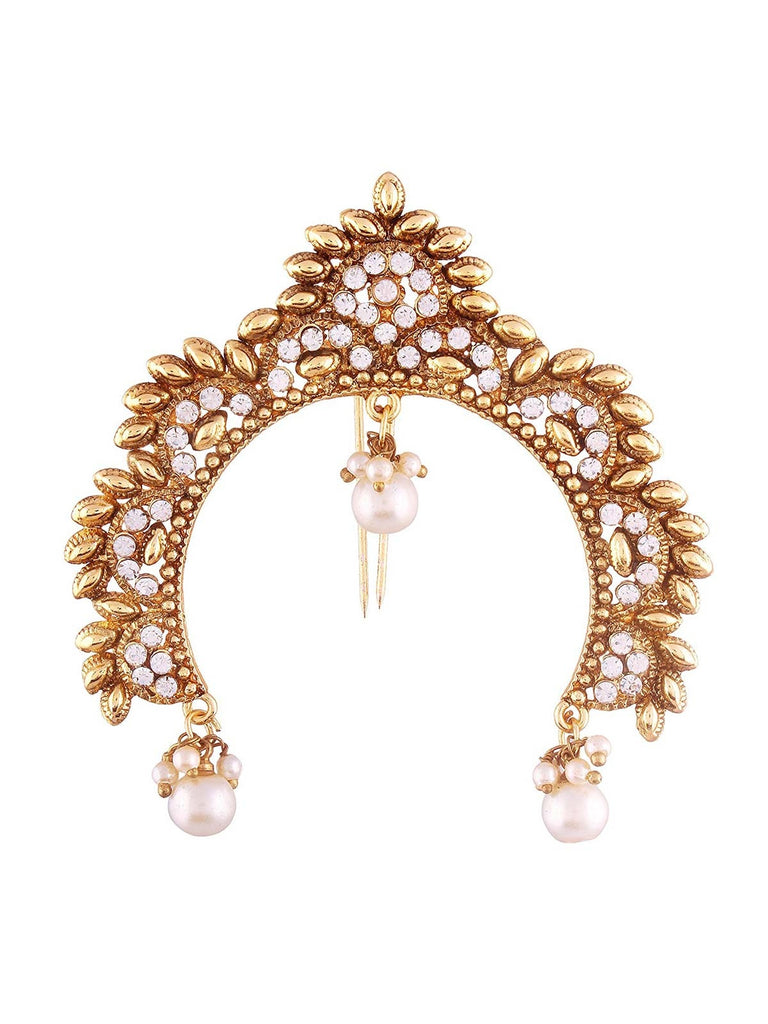 Purva Gold Plated Pearl Jooda Pin For Women
