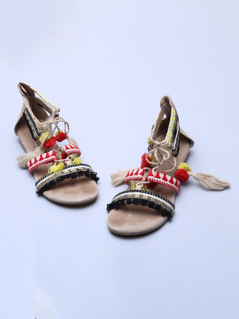 Red And Beige Pom Pom Sandals