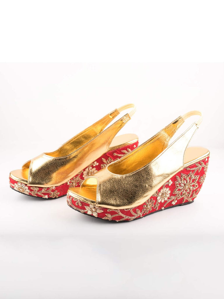Red And Gold Embroidered Peep Toe Wedges
