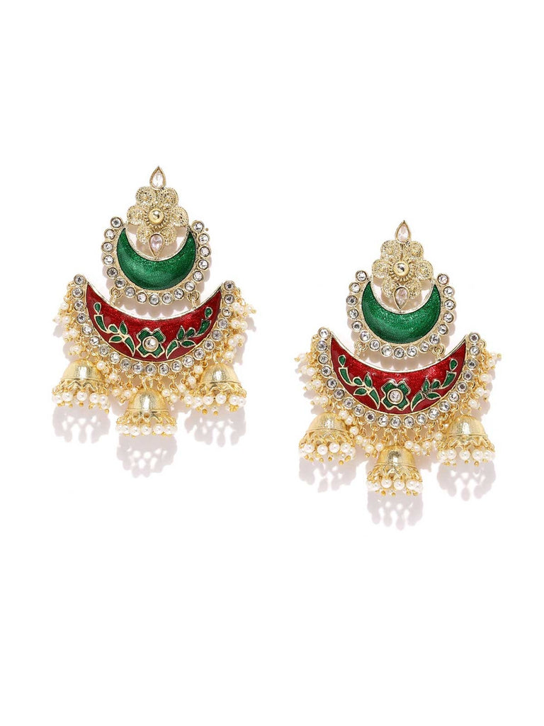 Red And Green Chandbali Earrings