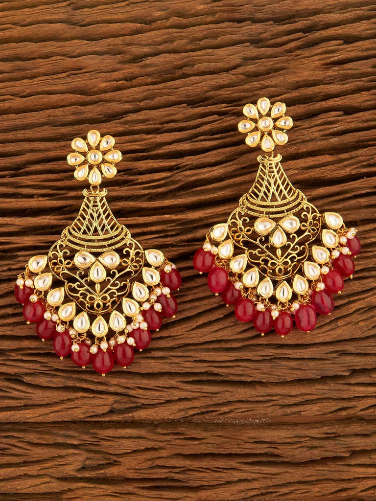 Red Bold Kundan Chandbali Earrings