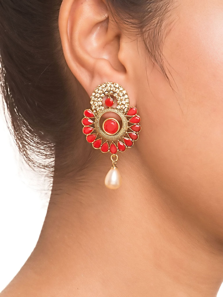 Red Rounded Shaped Cz Chandbali Earrings