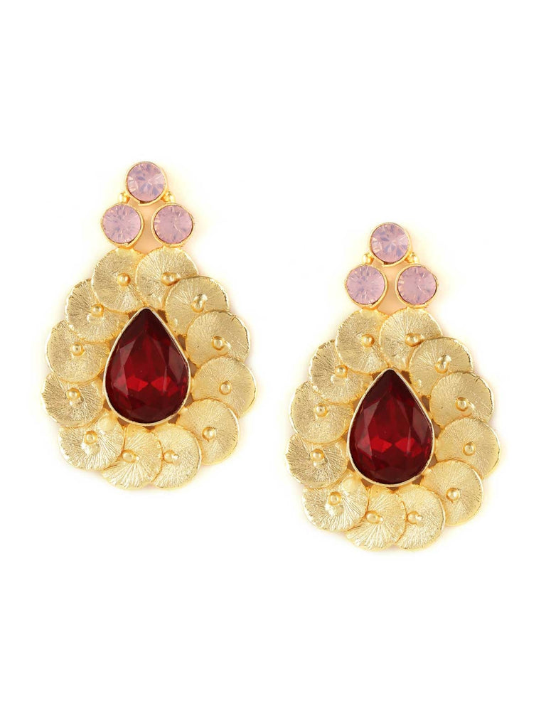Red Troublemaker Siam With Hazel Opal Handcrafted Party Wear Earrings