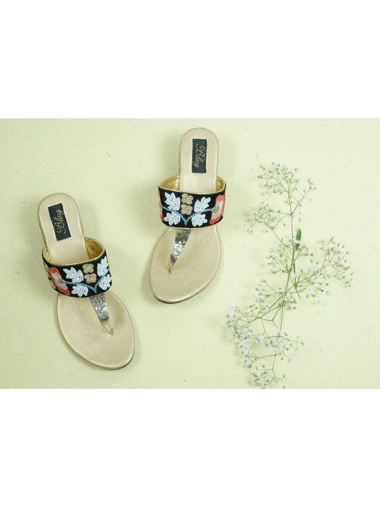 resham handwork wedges