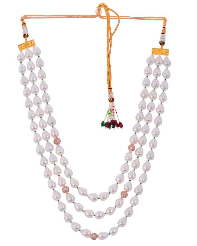 Richlook white three line baroque pearl royal look beautiful necklace