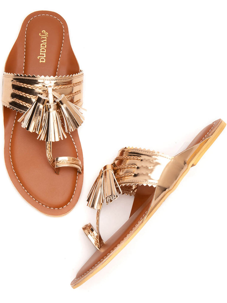 Rose Gold Tassel Twist Tan Kolhapuri Flats
