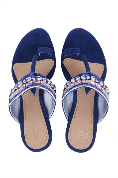 ROYAL BLUE COWRIE KOLHAPURI WEDGES