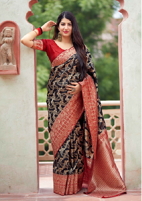 Black Banarasi Weaving Patola Silk Saree with Blouse