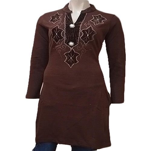 Designer Brown Velvet Work Buttoned Placket Full Sleeves Woolen Kurti