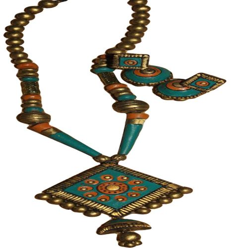 Diamond Pendant Terracotta Blue & Gold Color Combo Jewelry Set
