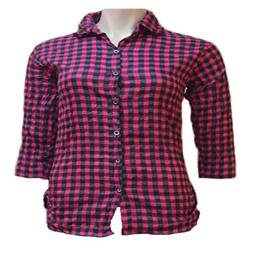 Magenta Cotton Front Button Black Check Wrinkle Shirt