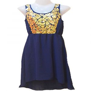 Shimmering Even & Odd Golden Sequin Royal Blue Tunic Top-Size S
