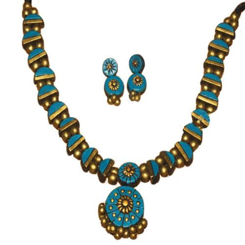 Terracotta Choker Set Blue & Gold Combo Jewelry Set