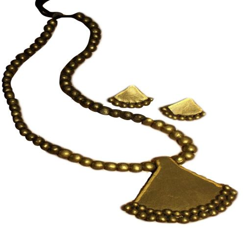 Terracotta Pendant & Ear Hangings Golden Jewelry Set