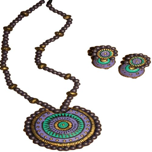 TerraCotta Ring Pendant & Ear Hangings Lavender Jewelry Set