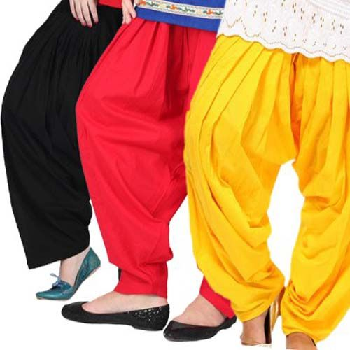 Value Pack of Black, Red, Yellow Patiala Salwar