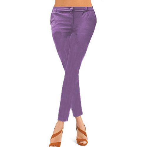 Plain Light Purple Non Denim Skinny Jegging