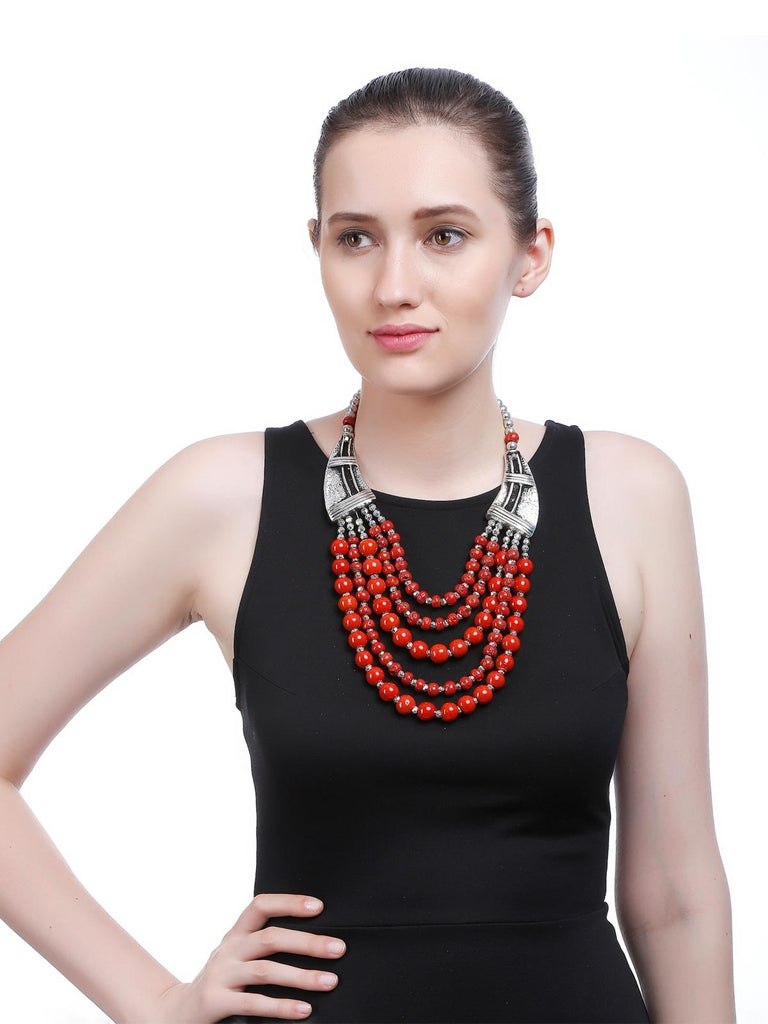 Silver And Red Beaded Fashion Necklace