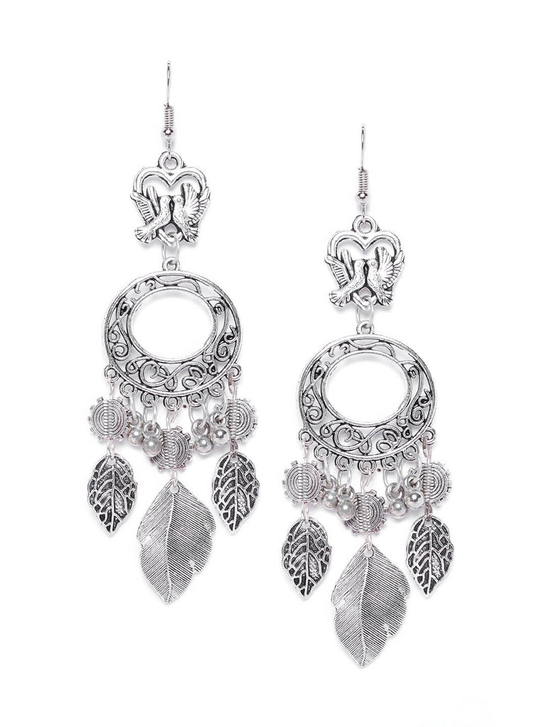 Silver Birds Embellished Tribal Hanging Leaves Earrings