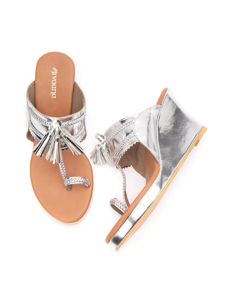 Silver Tassel Twist Tan Kolhapuri Wedges