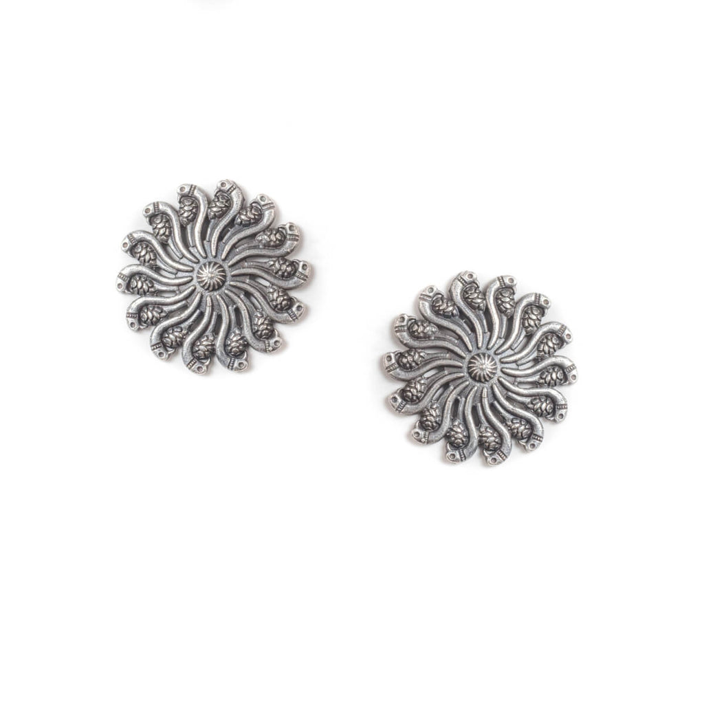 Silver Tone Oxidised Light Weight Studs
