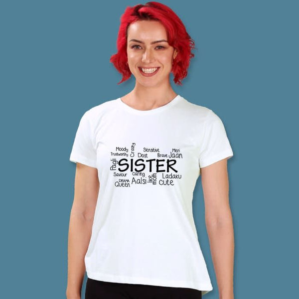 Sister Women'S Printed Half Sleeve T-Shirt