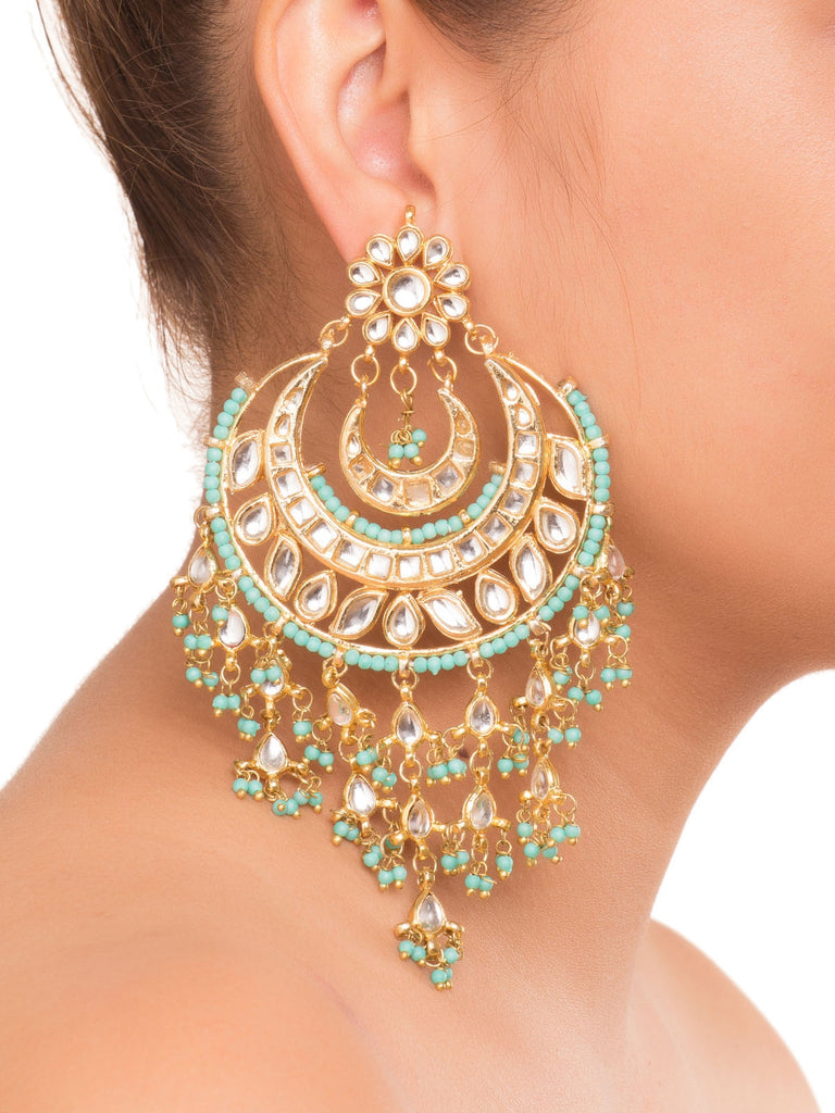 Sonam Turquoise Kundan Chandbaali Earrings