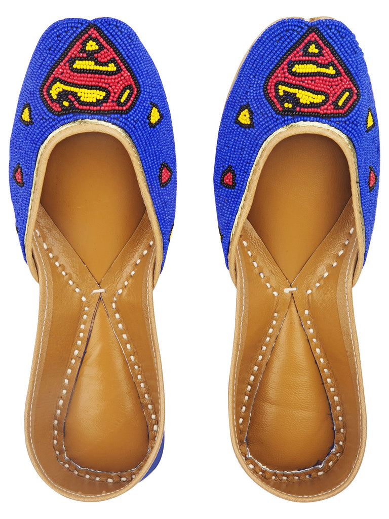Superman Juttis With Beads Work