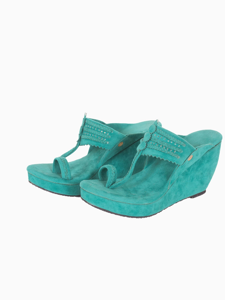 Teal Kolhapuri Wedges