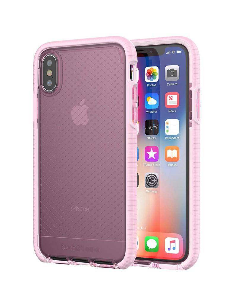 Tech21 Evo Check Case for iPhone X - Rose Tint/White