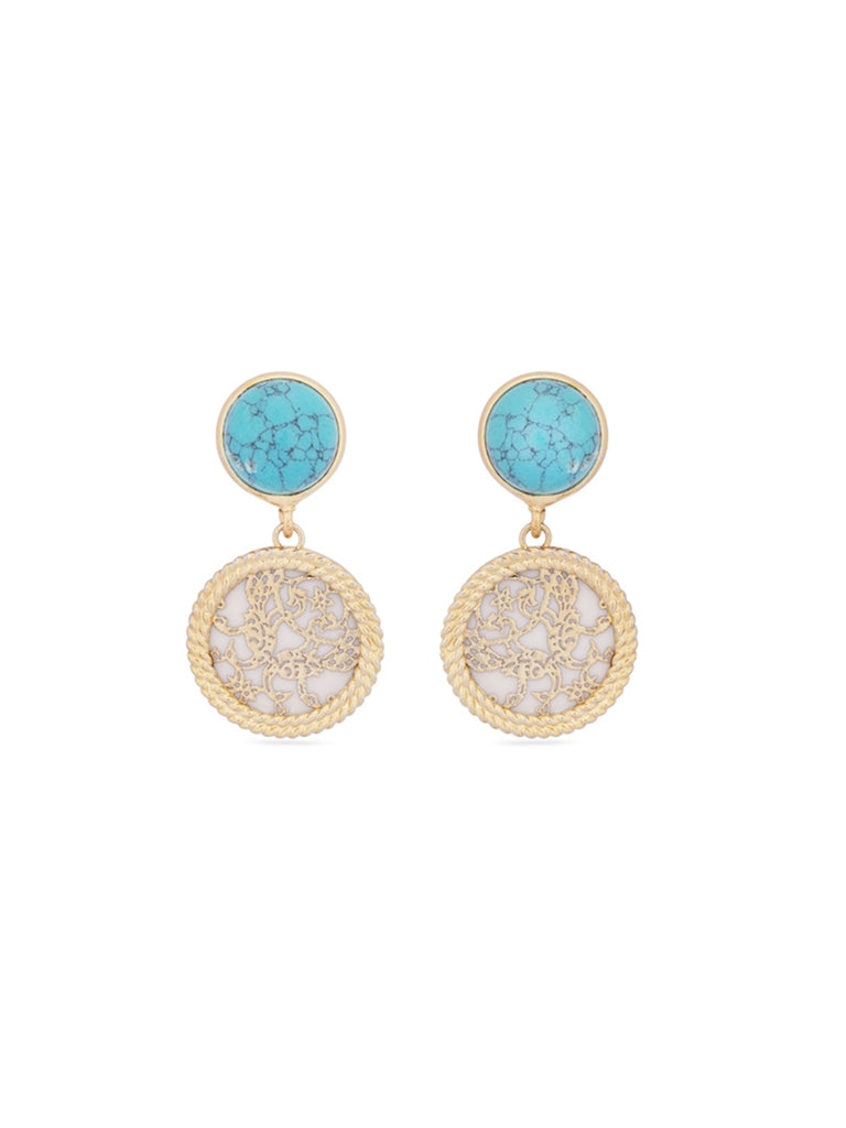 Turquoise Blue Stoned Earrings